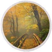 Autumn's Bridge To Heaven Round Beach Towel