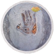Autumns Child Or Hand In Concrete Round Beach Towel