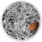 Round Beach Towel featuring the photograph Autumn's End by Marie Leslie