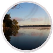 Round Beach Towel featuring the photograph Autumn's First Dawn by Jeff Severson