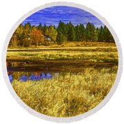 Autumn's Glory Round Beach Towel by Nancy Marie Ricketts