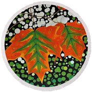 Round Beach Towel featuring the painting Autumns Kiss by Kathleen Sartoris