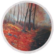 Round Beach Towel featuring the painting Autumns Pathway by Leslie Allen