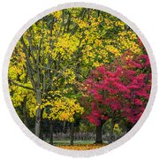 Autumn's Peak Round Beach Towel