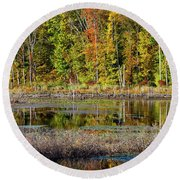 Round Beach Towel featuring the photograph Autumns Quiet Moment by Karol Livote