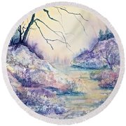 Autumnscape In Purple Round Beach Towel