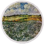 Round Beach Towel featuring the painting Landscape Auvers28 by Pemaro