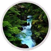 Avalanche Creek Waterfalls Round Beach Towel