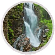 Round Beach Towel featuring the photograph Avalanche Falls  by Alana Ranney