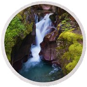 Round Beach Towel featuring the photograph Avalanche Gorge 4 by Gary Lengyel