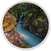 Round Beach Towel featuring the photograph Avalanche Gorge 5 by Gary Lengyel
