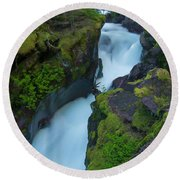 Round Beach Towel featuring the photograph Avalanche Gorge 6 by Gary Lengyel