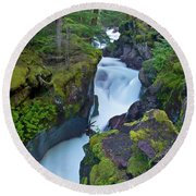Round Beach Towel featuring the photograph Avalanche Gorge 7 by Gary Lengyel