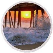 Avalon Fishing Pier Sunrise Round Beach Towel