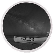 Avalon Milky Way Bw Round Beach Towel