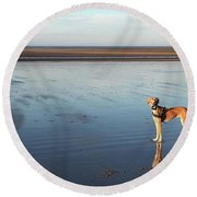 Ava's Last Walk On Brancaster Beach Round Beach Towel