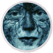 Round Beach Towel featuring the painting Avatar Portrait by Odon Czintos