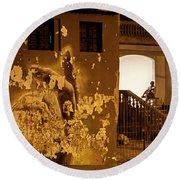 Round Beach Towel featuring the photograph Avenue De Los Presidentes Havana Cuba by Charles Harden