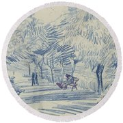 Avenue In A Park Arles, May 1888 Vincent Van Gogh 1853 - 1890 Round Beach Towel