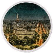 Paris, France - Avenue Kleber Round Beach Towel