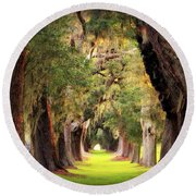 Avenue Of Oaks Sea Island Golf Club St Simons Island Georgia Art Round Beach Towel