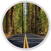Avenue Of The Giants Round Beach Towel by James Eddy