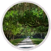 Avenue Of The Oaks At Boonville Plantation Round Beach Towel
