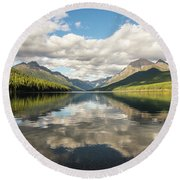 Avenue To The Mountains Round Beach Towel