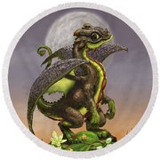 Avocado Dragon Round Beach Towel by Stanley Morrison