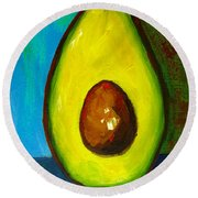 Avocado, Modern Art, Kitchen Decor, Blue Green Background Round Beach Towel