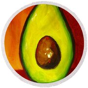 Avocado Modern Art, Kitchen Decor, Orange And Red Background Round Beach Towel