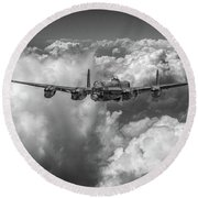 Round Beach Towel featuring the photograph Avro Lancaster Above Clouds Bw Version by Gary Eason