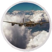 Round Beach Towel featuring the photograph Avro Lancaster Above Clouds by Gary Eason