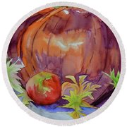 Round Beach Towel featuring the painting Awaiting by Beverley Harper Tinsley