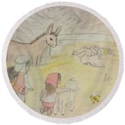 Away In A Manger With Child Shepherds Round Beach Towel by Christy Saunders Church