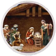 Away In The Manger Round Beach Towel