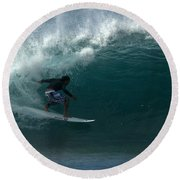 Awesome Barrel At Pipe Round Beach Towel by Brad Scott