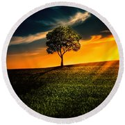 Awesome Solitude II Round Beach Towel