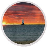 Awesome Sunset With Lighthouse  Round Beach Towel