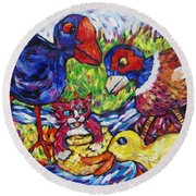 Round Beach Towel featuring the painting Awesum Foursum by Dianne  Connolly