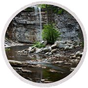 Awosting Falls In Spring #1 Round Beach Towel
