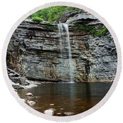 Awosting Falls In Spring #2 Round Beach Towel