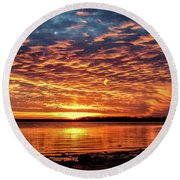 Awsome Sunset Round Beach Towel by Doug Long