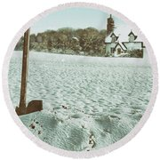 Axe In The Snow Round Beach Towel