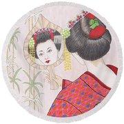 Ayano -- Portrait Of Japanese Geisha Girl Round Beach Towel