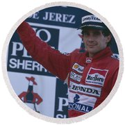Ayrton Senna. 1989 Spanish Grand Prix Winner Round Beach Towel