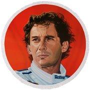Ayrton Senna Portrait Painting Round Beach Towel by Paul Meijering