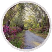 Azalea Lane By H H Photography Of Florida Round Beach Towel by HH Photography of Florida