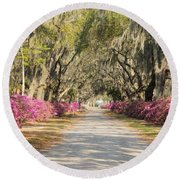 azalea lined road in Spring Round Beach Towel
