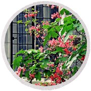 Azaleas At The Window   Round Beach Towel by Sarah Loft